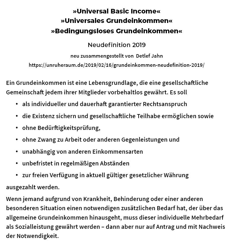 Bild: Grundeinkommen, Neudefinition 2019