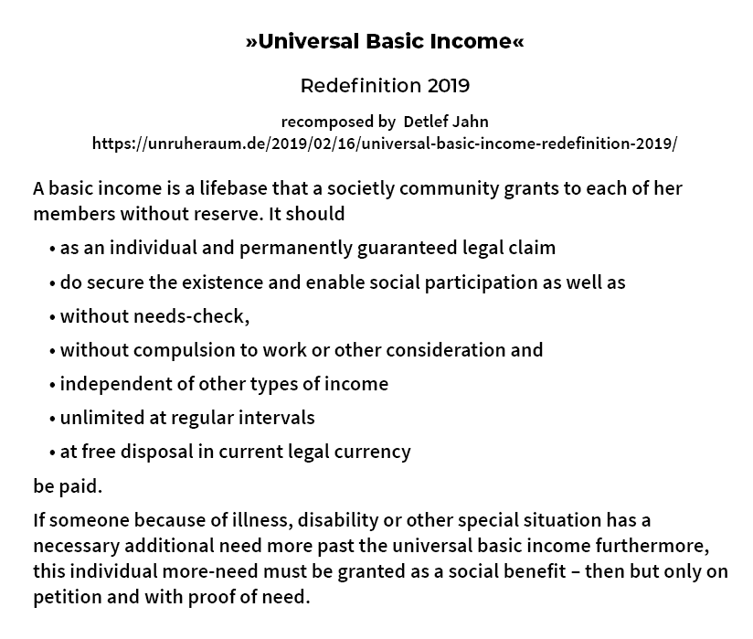 picture: Universal Basic Income – Redefinition 2019